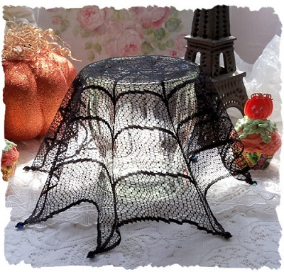 "LAST ONE!  Halloween Cobweb Lace 18"" Beaded Doily"