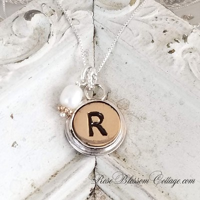 Initial Sterling Bronze Charm Necklace Typewriter Style Choice