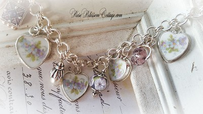 Lilia Broken China Jewelry Sterling Crystal, Pearl Charm Bracelet w/ Options