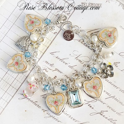 SOLD Ainsley Vintage Broken China Jewelry Sterling Bead Charm Bracelet w/Color options