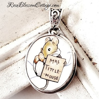 Broken China Jewelry Beatrix Potter Mrs. Tittle Mouse Oval Sterling Pendant