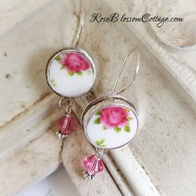 New Country Roses White Royal Albert Round Broken China Jewelry Sterling Earrings