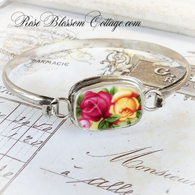 Royal Albert Old Country Roses Broken China Jewelry Sterling Bangle Bracelet