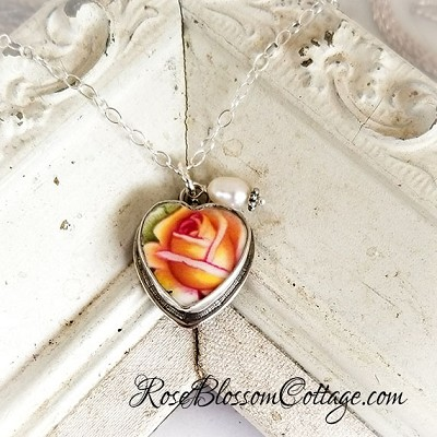 Royal Albert Old Country Roses Broken China Jewelry Sterling Petite Charm Pendant Necklace