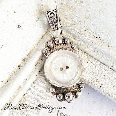 Antique Button Sterling Mother of Pearl Pendant Necklace