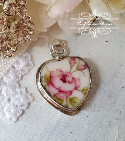 Broken china jewelry open pink rose charm or pendant broken china jewelry open pink rose heart charm or sterling pendant audiocablefo light ideas