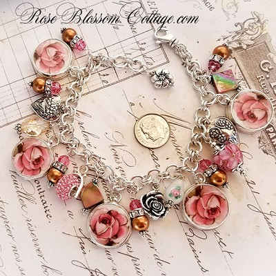 Autumn Rose Broken China Jewelry Sterling Silver Charm Bracelet