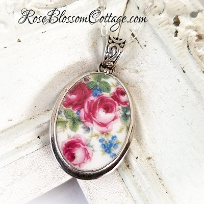 Deep Pink Roses Forget Me Nots Oval Broken China Jewelry Pendant Necklace