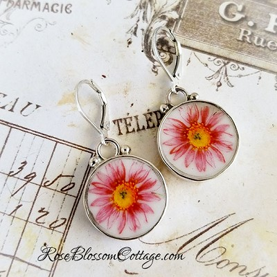 Pink Zinnias Round Broken China Jewelry Sterling Earrings