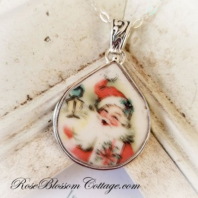SALE Christmas Happy Pink Santa Fat Teardrop Broken China Jewelry Pendant Necklace