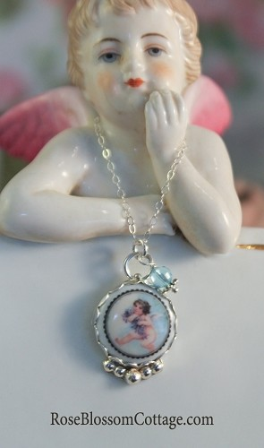 Sweet Heavenly Angel with Violets Porcelain Crystal Necklace