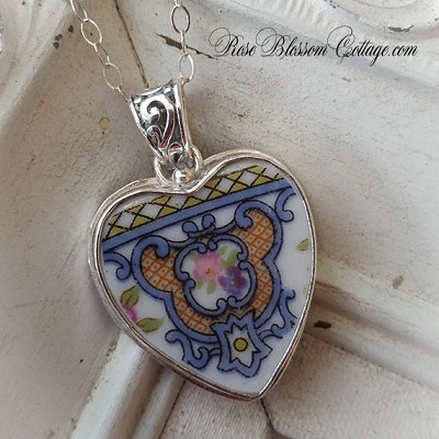 SALE Antique Medallion Roses Blue Gold Pink Broken China Jewelry Sterling Pendant Necklace