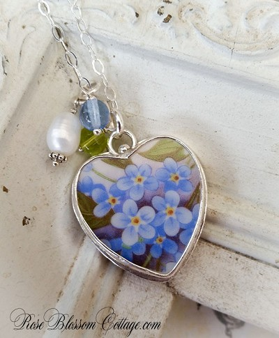 Forget Me Not Broken China Jewelry Sterling Heart Bead Pendant Necklace