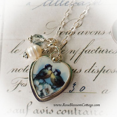 BESTSELLER Broken China Jewelry Charm Blue Bird Love Charm Pendant