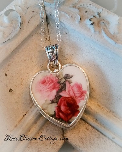 Pink & Red Roses Porcelain Broken China Jewelry Sterling Pendant Necklace