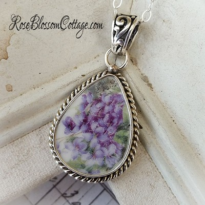Violets Teardrop Rope Edge Broken China Jewelry Sterling Necklace Pendant