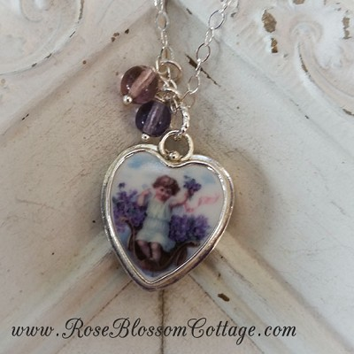 Angel in Violets Broken China Jewelry Sterling Charm Pendant Glass Beads