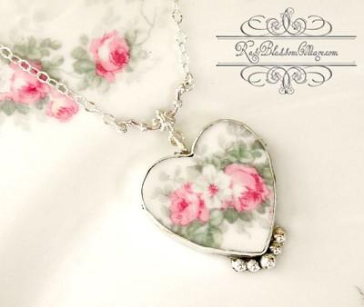 Broken china jewelry pink rose pendant necklace sold broken china jewelry pink rose pendant necklace audiocablefo light ideas