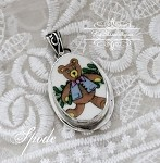 Broken China Jewelry Spode Christmas Teddy Bear Pendant Charm