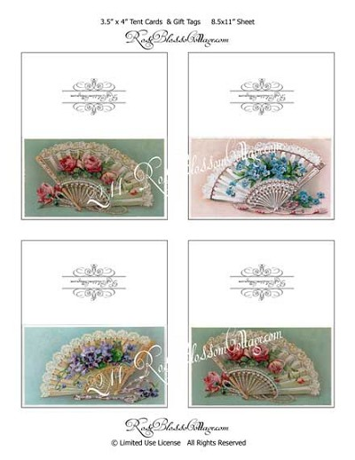 Victorian Fan Tags, Placecards, Tent Cards Digital Print