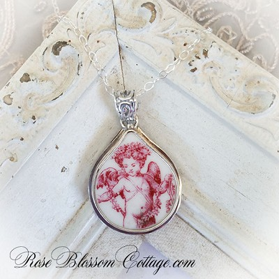Red Toile Transferware Angel Teardrop Broken China Jewelry Pendant Necklace
