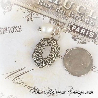 Sterling Silver Antique Style Oval Floral Charm Pendant Necklace Options