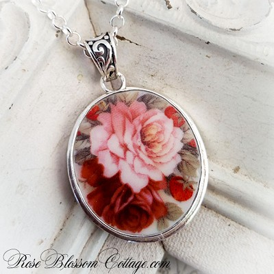 Roses and Strawberries Rounded Oval Broken China Jewelry Pendant Necklace