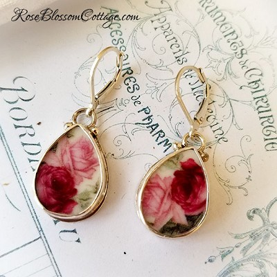 Teardrop Roses Shades of Pink Broken China jewelry Earrings Sterling