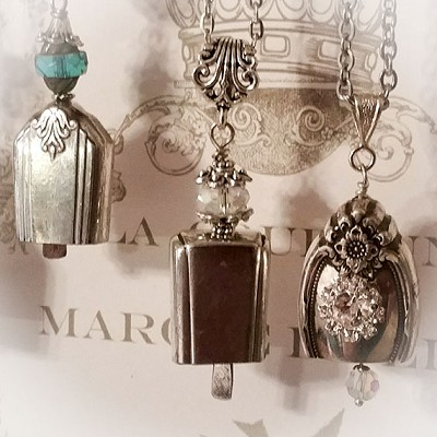 Vintage Silverplate Bell Necklace Clear Crystal