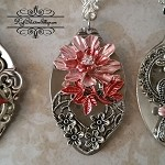 Spoon Necklace Silver plate Crystal Necklace Pink Red Floral Pendant