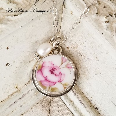 April Rose Broken China Jewelry Round Charm Pendant Necklace