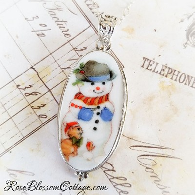 Snowman & Kitty Cat Long Oval Broken China Jewelry Sterling Pendant Necklace