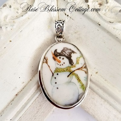 Snowman Joy Broken China Jewelry Sterling Oval Pendant Necklace
