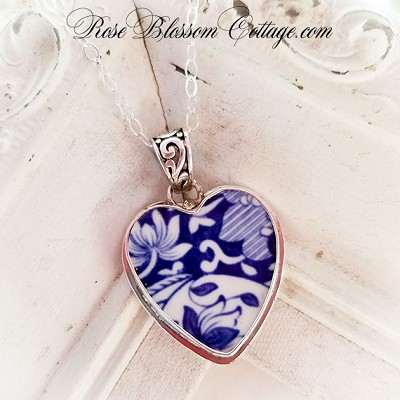 Broken China Jewelry Blue & White Heart English Spode Blue Italian Necklace