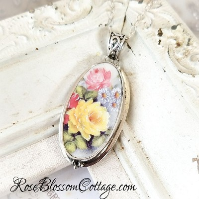 Spring Floral Roses Broken China Jewelry Long Oval Pendant Necklace