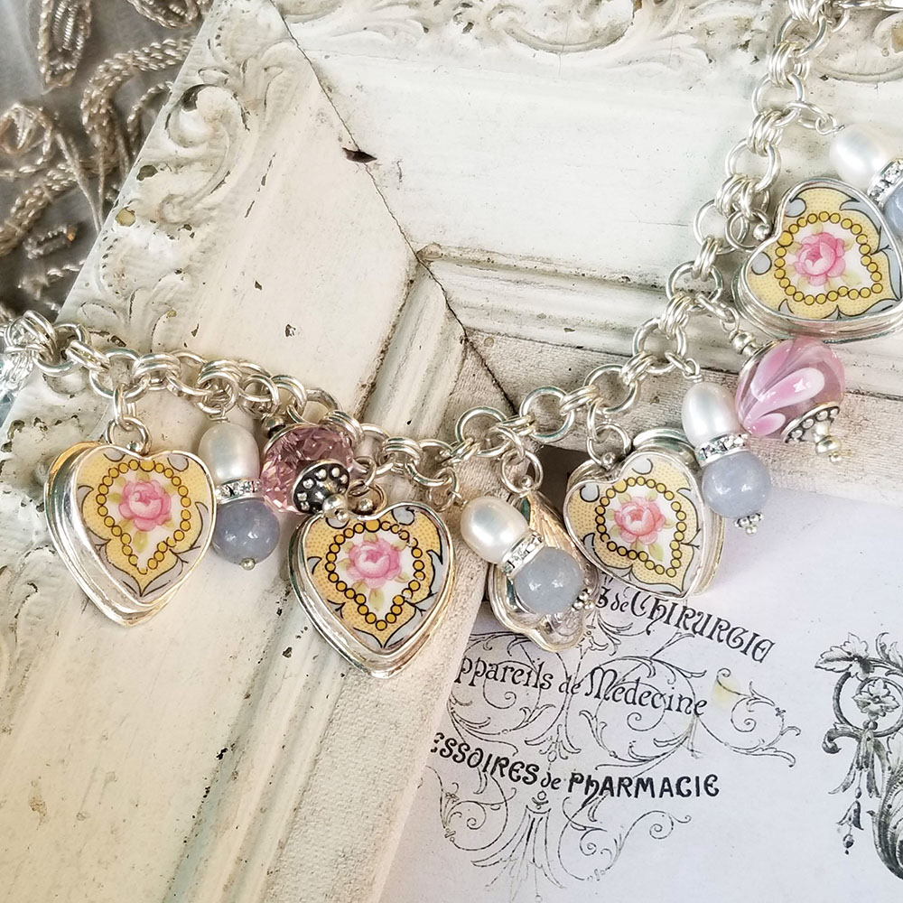 Vintage Yellow Medallion Pink Rose Broken China Jewelry Charm Bracelet
