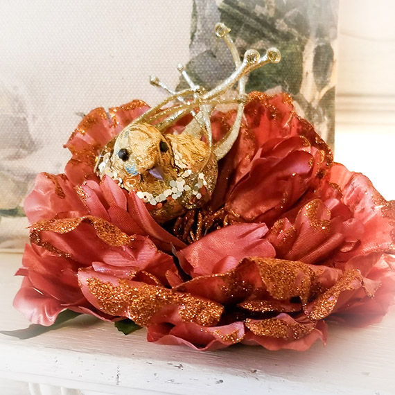 Large Cabbage Rose Bird Nest Gold & Rose Pink Clip Christmas Tree Ornament