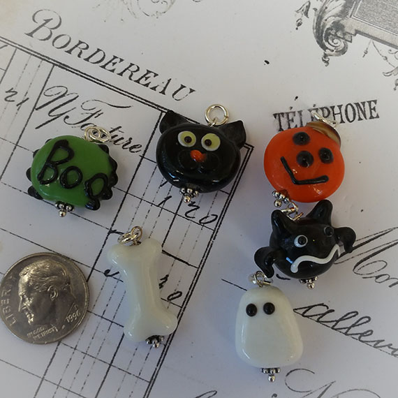 Sterlng Halloween Lampwork Charms Goblins and Ghouls
