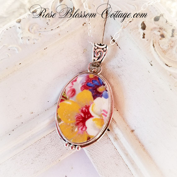Vintage English James Kent Fenton Du Barry Floral Chintz Broken China Jewelry Oval Pendant Necklace