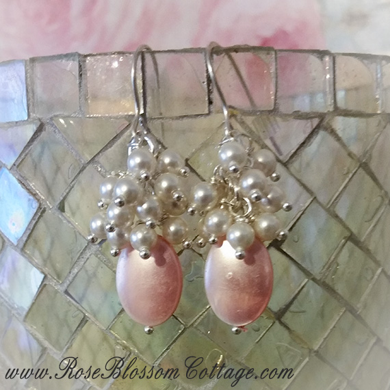 Pink Tear Drop Mother of Pearl Shell and Swarovski Pearls Sterling Earrings