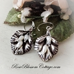 Ruffled Lily with Freshwater Pearls Sterling Earrings