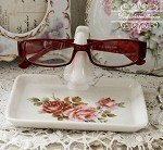 Roses Porcelain Eye Glass Holder with tray