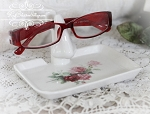Roses Porcelain Eye Glass Holder Keeper with tray  Pink and Green