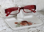 Roses Porcelain Eye Glass Holder Keeper with tray Pink and Red