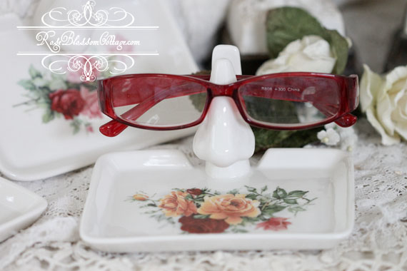 Roses Porcelain Eye Glass Holder Keeper with tray Red and Yellow