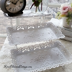 3 Level Shabby Lacy Ornate Metal Shelf Easy Storage & Organization!