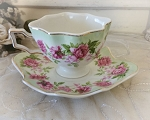 Pink Roses and Green Shabby Scalloped Tea Cup and Saucer