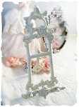 Ornate Metal Easel - White, Gold, Silver