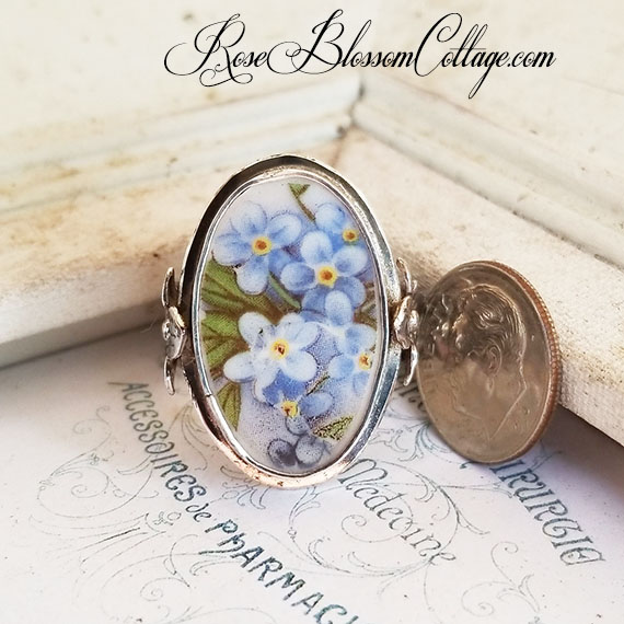 Oval Forget Me Not Broken China Jewelry Adjustable Sterling Ring