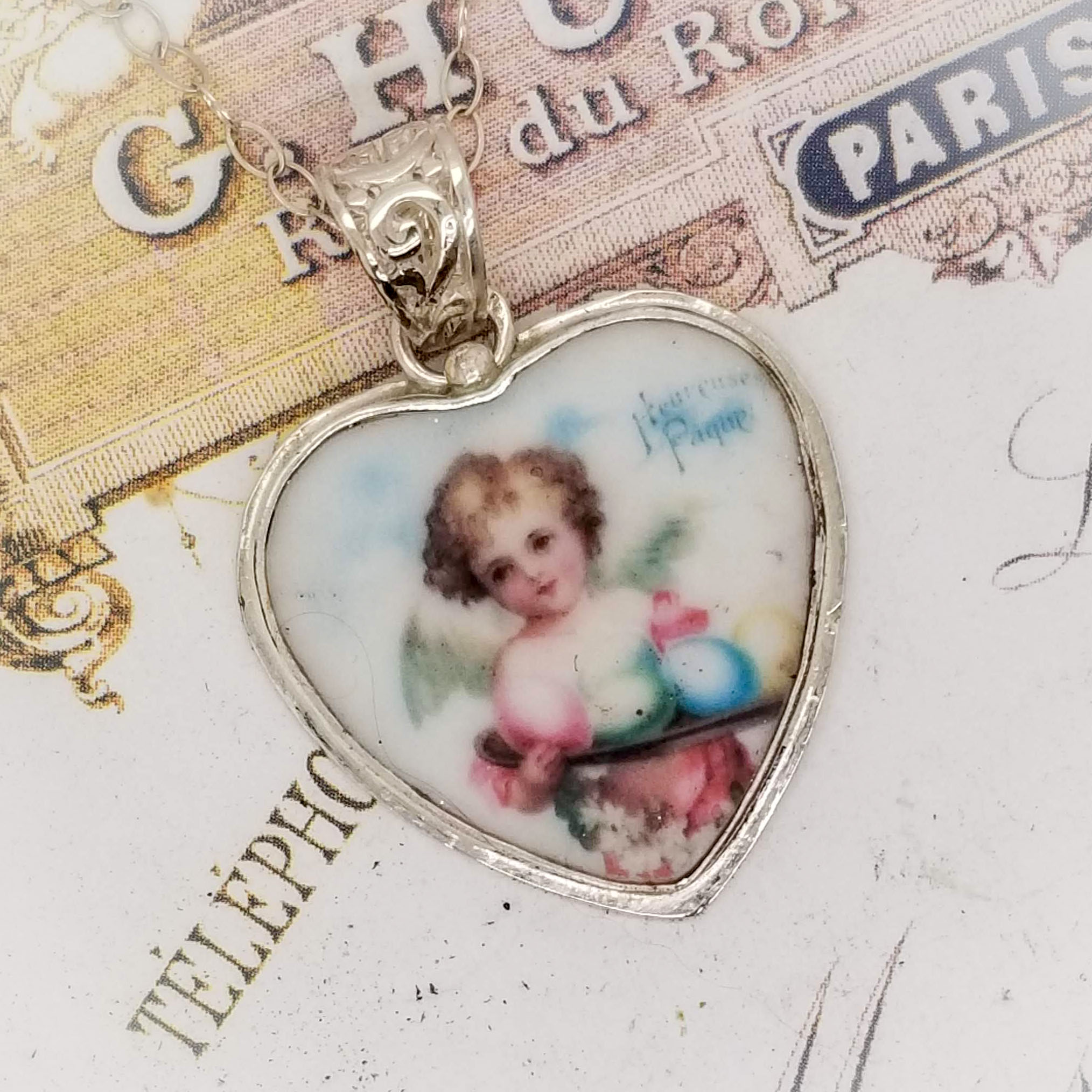 Angel Easter Egg  Broken China Jewelry Heart Sterling Charm Pendant Necklace